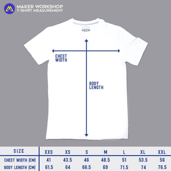 maker workshop tee size chart