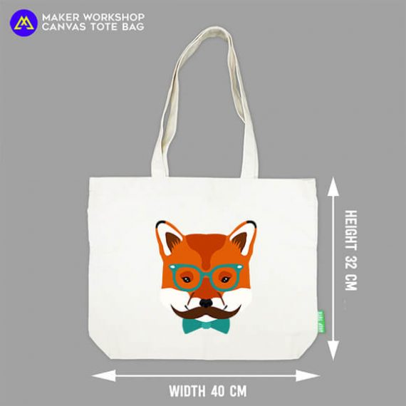 Hipster Fox Tote Bag