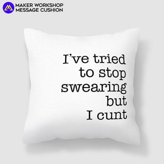 maker workshop message cushion