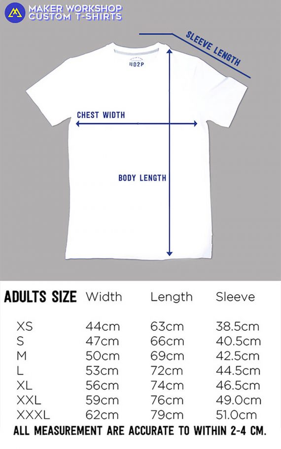 Maker Workshop T-Shirt Size Chart