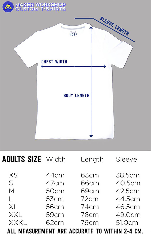 Maker Workshop T-Shirt Size Chart